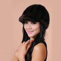 Fashion Women Mink hair Fur Hats Winter Warm Whole Leather Peaked Caps - Drak Brown