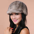 Fashion Women Mink hair Fur Hats Winter Warm Whole Leather Peaked Caps - Grey