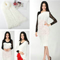 Fashion Women soft feather yarn knitted scarf shawls warm Neck Wrap tippet - White