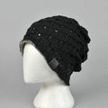 Fashion autumn winter wool hat women or man warm casual knitted caps - Black