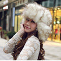 Fox fur leifeng hat for man women winter thermal windproof Ear protector Caps - Beige