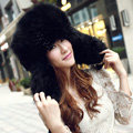 Fox fur leifeng hat for man women winter thermal windproof Ear protector Caps - Black
