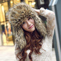 Fox fur leifeng hat for man women winter thermal windproof Ear protector Caps - Brown