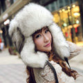 Fox fur leifeng hat for man women winter thermal windproof Ear protector Caps - White black tip