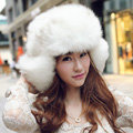 Fox fur leifeng hat for man women winter thermal windproof Ear protector Caps - White brown tip