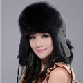 Fox fur leifeng hat for women man thermal winter windproof Ear protector Caps - Black