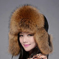 Fox fur leifeng hat for women man thermal winter windproof Ear protector Caps - Brown