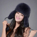 Fox fur leifeng hat for women man thermal winter windproof Ear protector Caps - Dark blue
