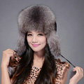 Fox fur leifeng hat for women man thermal winter windproof Ear protector Caps - Grey
