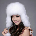 Fox fur leifeng hat for women man thermal winter windproof Ear protector Caps - White