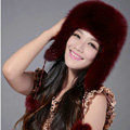 Fox fur leifeng hat for women thermal winter windproof Ear protector Caps - Dark red