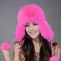 Fox fur leifeng hat for women thermal winter windproof Ear protector Caps - Pink