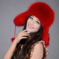 Fox fur leifeng hat for women thermal winter windproof Ear protector Caps - Red