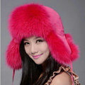 Fox fur leifeng hat for women thermal winter windproof Ear protector Caps - Rose
