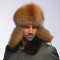 Fox fur leifeng hat man thermal winter windproof Ear protector male genuine leather Caps - Brown