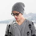 Men's fashion autumn winter genuine wool hat thermal warm casual knitted caps - Grey