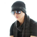 Men's fashion autumn winter genuine wool hat warm stripe casual knitted caps - Black