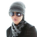 Men's fashion autumn winter genuine wool hat warm stripe casual knitted caps - Grey