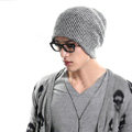 Men's fashion autumn winter genuine wool hat warm thermal casual knitted caps - Black White