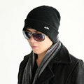 Men's fashion autumn winter genuine wool hat warm thermal casual knitted caps - Black
