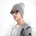 Men's fashion autumn winter genuine wool hat warm thermal casual knitted caps - Coffee