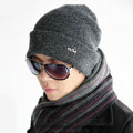 Men's fashion autumn winter genuine wool hat warm thermal casual knitted caps - Dark Grey