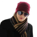 Men's fashion autumn winter genuine wool hat warm thermal casual knitted caps - Dark Red
