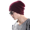 Men's fashion autumn winter genuine wool hat warm thermal casual knitted caps - Deep red