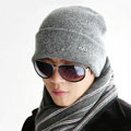 Men's fashion autumn winter genuine wool hat warm thermal casual knitted caps - Grey
