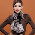 Women Fashion Knitted Rex Rabbit Fur Scarves Flower Winter Warm Scarf Wraps - Coffee Black