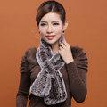 Women Fashion Knitted Rex Rabbit Fur Scarves Flower Winter Warm Scarf Wraps - Coffee