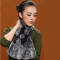 Women Fashion Knitted Rex Rabbit Fur Scarves Flower Winter Warm Scarf Wraps - Grey Purple