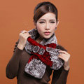 Women Fashion Knitted Rex Rabbit Fur Scarves Flower Winter Warm Scarf Wraps - Red Coffee
