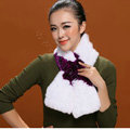 Women Fashion Knitted Rex Rabbit Fur Scarves Flower Winter Warm Scarf Wraps - White Purple