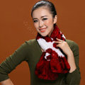 Women Fashion Knitted Rex Rabbit Fur Scarves Flower Winter Warm Scarf Wraps - White Red