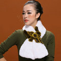 Women Fashion Knitted Rex Rabbit Fur Scarves Flower Winter Warm Scarf Wraps - White Yellow