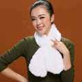 Women Fashion Knitted Rex Rabbit Fur Scarves Flower Winter Warm Scarf Wraps - White