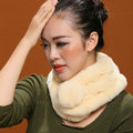 Women Fashion Knitted Rex Rabbit Fur Scarves Winter Warm Thicken Scarf Wraps - Beige