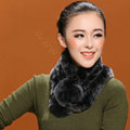 Women Fashion Knitted Rex Rabbit Fur Scarves Winter Warm Thicken Scarf Wraps - Black Grey