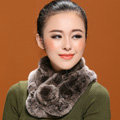 Women Fashion Knitted Rex Rabbit Fur Scarves Winter Warm Thicken Scarf Wraps - Brown