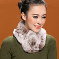 Women Fashion Knitted Rex Rabbit Fur Scarves Winter Warm Thicken Scarf Wraps - Coffee White