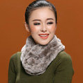 Women Fashion Knitted Rex Rabbit Fur Scarves Winter Warm Thicken Scarf Wraps - Grey White