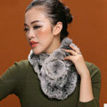 Women Fashion Knitted Rex Rabbit Fur Scarves Winter Warm Thicken Scarf Wraps - Grey