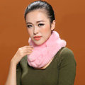 Women Fashion Knitted Rex Rabbit Fur Scarves Winter Warm Thicken Scarf Wraps - Pink