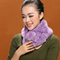 Women Fashion Knitted Rex Rabbit Fur Scarves Winter Warm Thicken Scarf Wraps - Purple