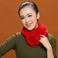Women Fashion Knitted Rex Rabbit Fur Scarves Winter Warm Thicken Scarf Wraps - Red