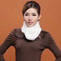 Women Fashion Knitted Rex Rabbit Fur Scarves Winter Warm Thicken Scarf Wraps - White