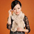 Women Fashion Knitted Rex Rabbit Fur Scarves Winter warm Wave Scarf Wraps - Beige