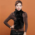 Women Fashion Knitted Rex Rabbit Fur Scarves Winter warm Wave Scarf Wraps - Black