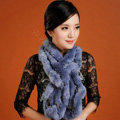 Women Fashion Knitted Rex Rabbit Fur Scarves Winter warm Wave Scarf Wraps - Blue